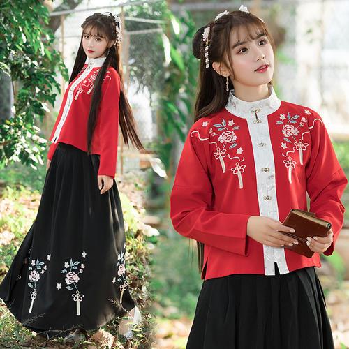 汉服女装日常立领袄裙琵琶袖红黑春装 ()