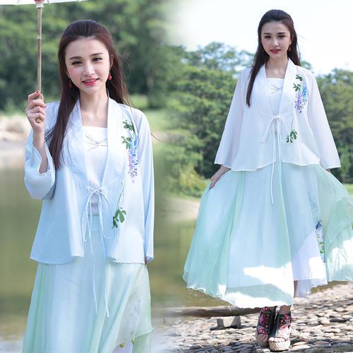 春装女装印花古装改良长袖汉服 ()