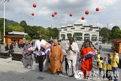 斯里兰卡佛教访华团参访珠海普陀寺 明生大和尚至山门迎接