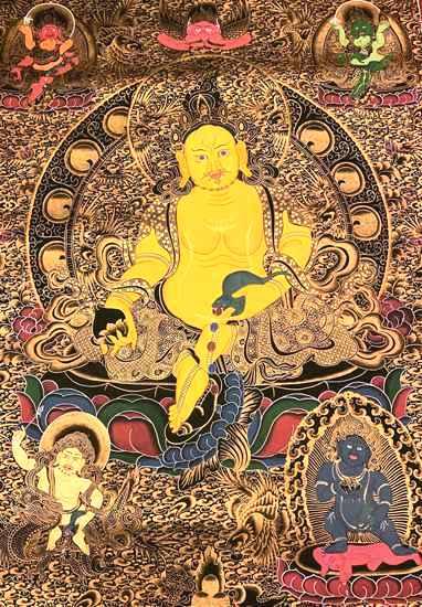 千万人追捧的尼泊尔黄财神唐卡 到底有什么秘密?_财神-尼泊尔-释迦牟尼-一幅-无上 ()