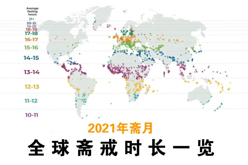 2021年斋月:全球斋戒时长一览_-斋月-穆斯林-时长